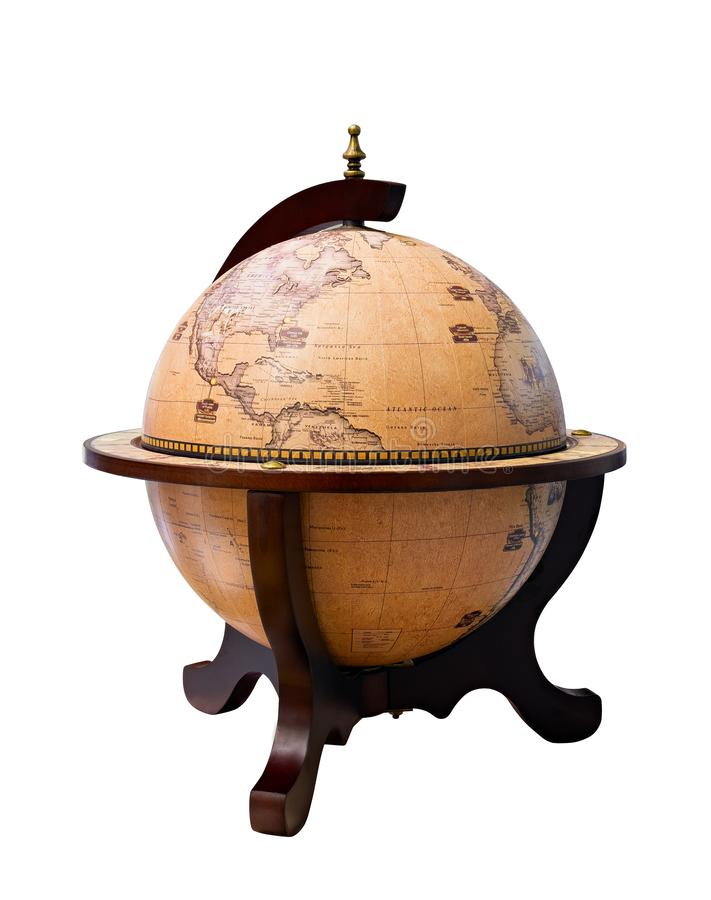 Old Style World Globe - Antique world globe isolated on white background. Studio close up. Showing America and some of Middle East royalty free stock image