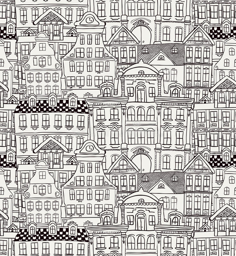 Old Styled Houses Seamless Pattern stock illustration