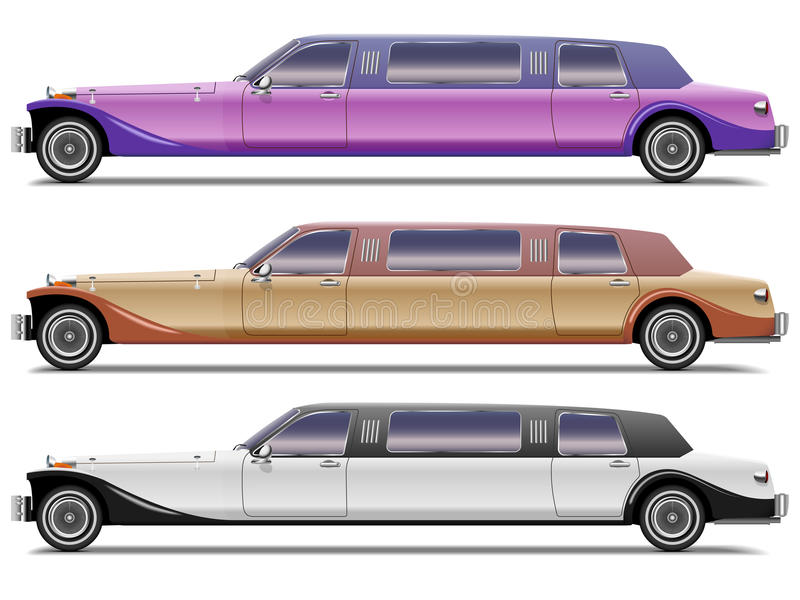 Old-styled realistic limousines royalty free illustration