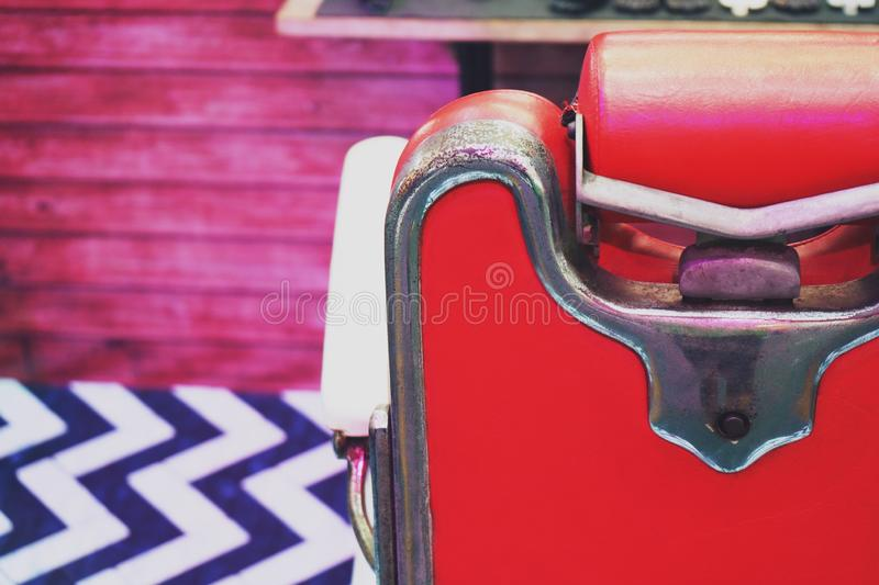 Old Stylish Vintage Barber Chair background close up stock images