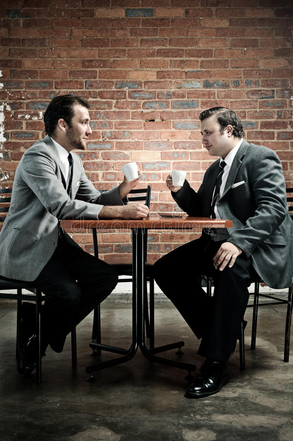 Old Suit, Coffee, Two Men Stock Image. Image Of Slim