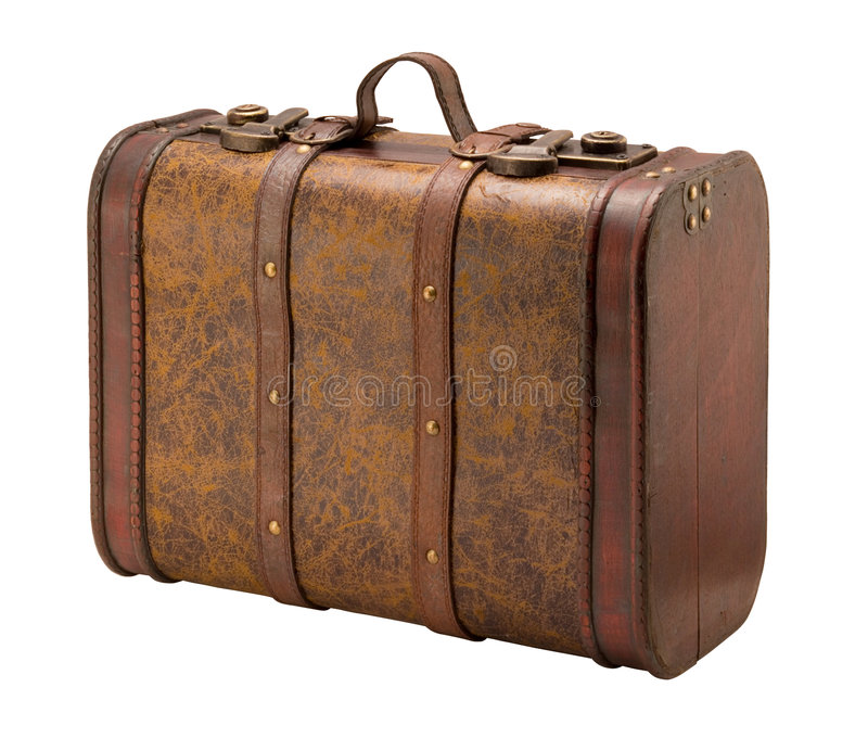 Old Suitcase with a clipping path. Old Suitcase with clipping path. Isolation is on a transparent layer in the PNG format stock photos