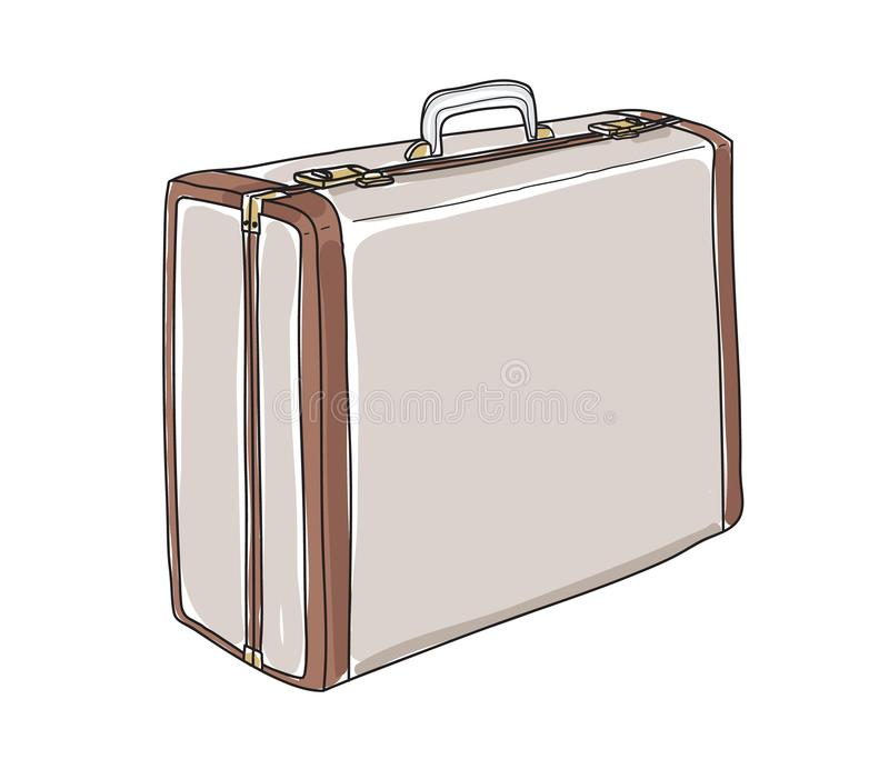 Old Suitcase Luggage Retro Travel hand drawn cute art painting vector illustration stock illustration