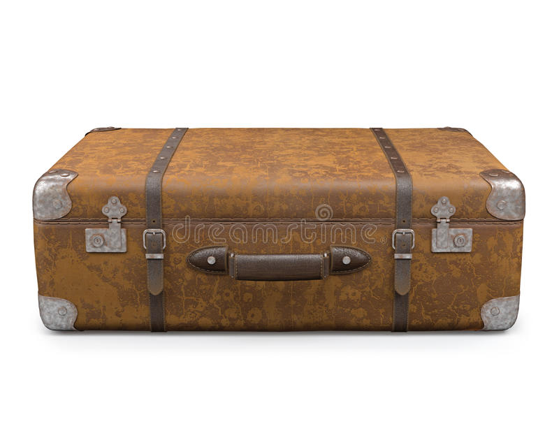 Old Suitcase Over White Stock Photo