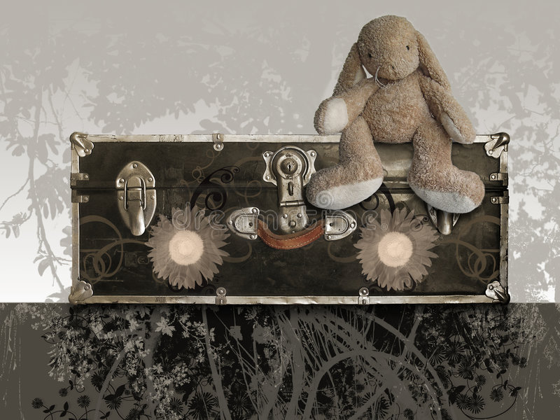 Old Suitcase With Teddy Rabbit Royalty Free Stock Photography