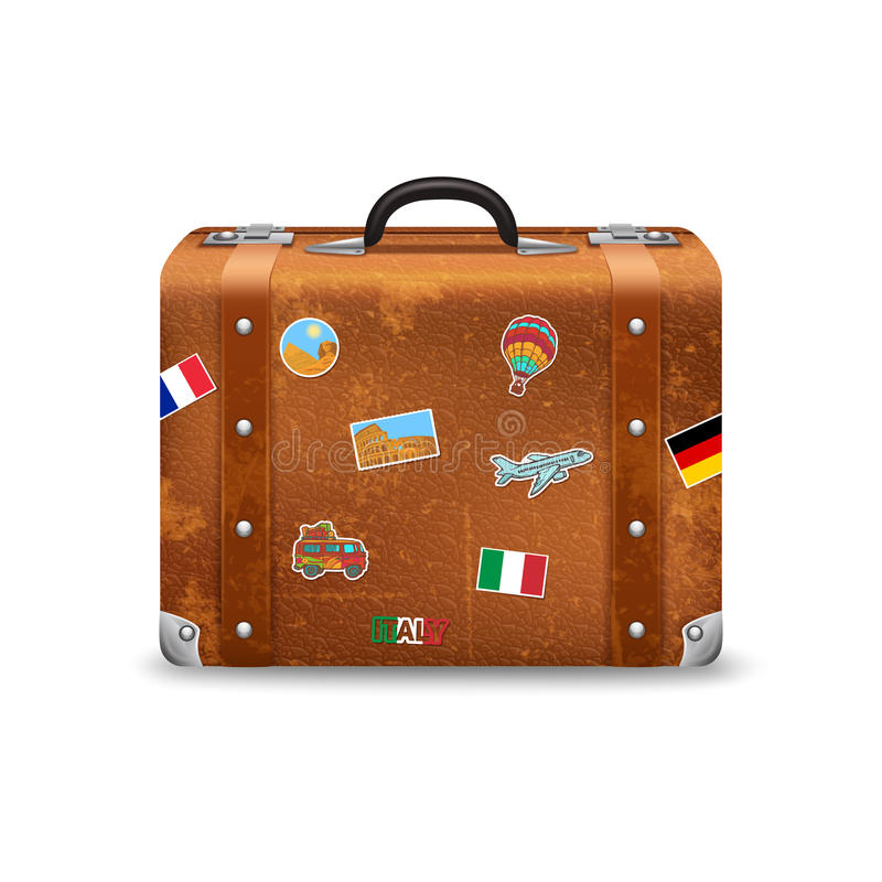 Old Suitcase With Travel Stickers vector illustration