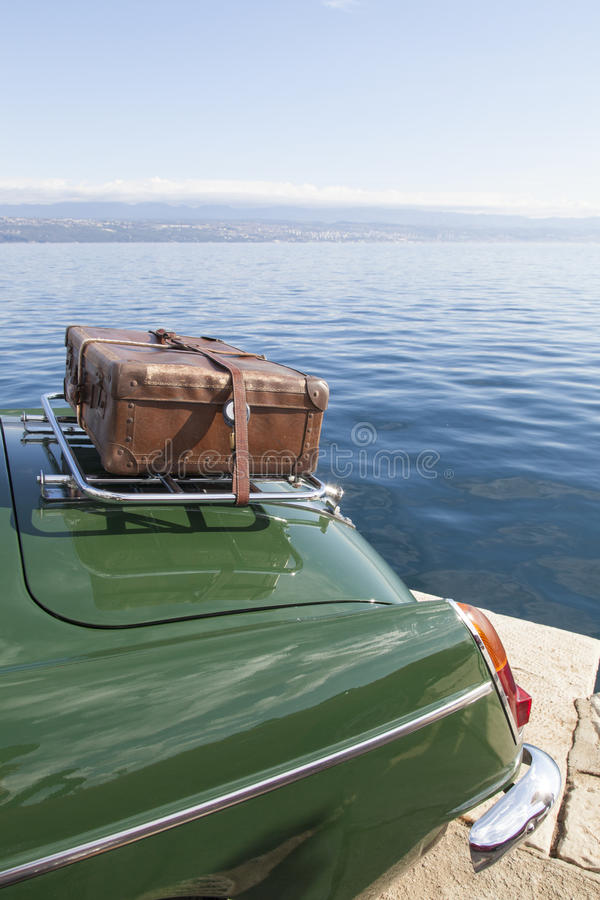 Download Old Suitcase On Vintage Sport Car Stock Photo - Image: 34417280