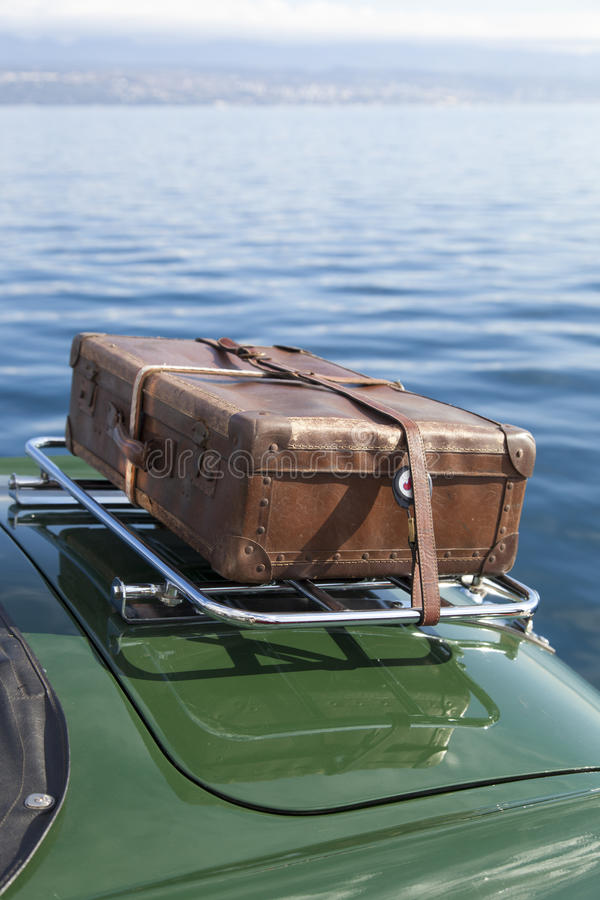 Download Old Suitcase On Vintage Sport Car Stock Image - Image of chrome, back: 34417285