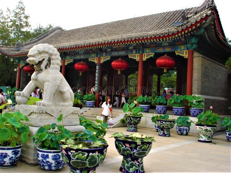 Old Summer Palace or Yuanming Yuan in Beijing city, China. Art, history and symbols stock photos
