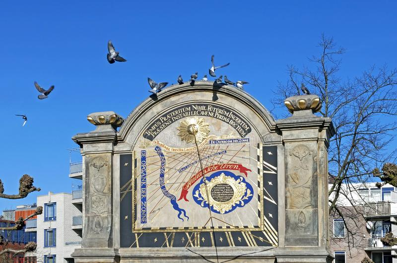 Old sundial of Prinsenhof in Dutch city Groningen. The Netherlands, province of Groningen, city of Groningen: Netherlands, Province and city Groningen: The royalty free stock image