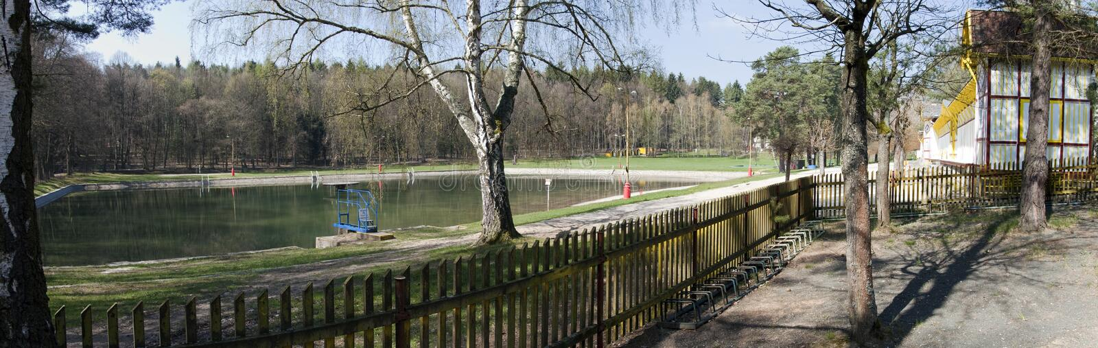 Old swimming pool called Dachova in Horice. Czech republic royalty free stock photos