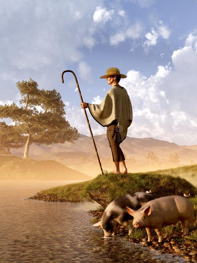 The Old Swineherd. In the early evening an ageing swineherd brings his two last pigs down to a lazy river for a drink. 3D Rendering stock illustration