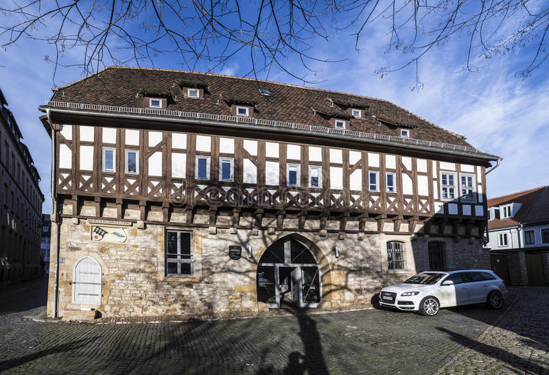 Old synagogue in Erfurt, Germany. ERFURT, GERMANY - DEC 20, 2015: old synagogue in Erfurt, Germany. It is the oldest existing synagogue in Europe royalty free stock image