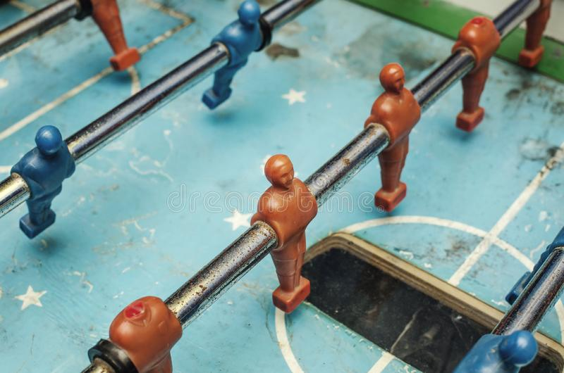 Old table football game. Close up royalty free stock image