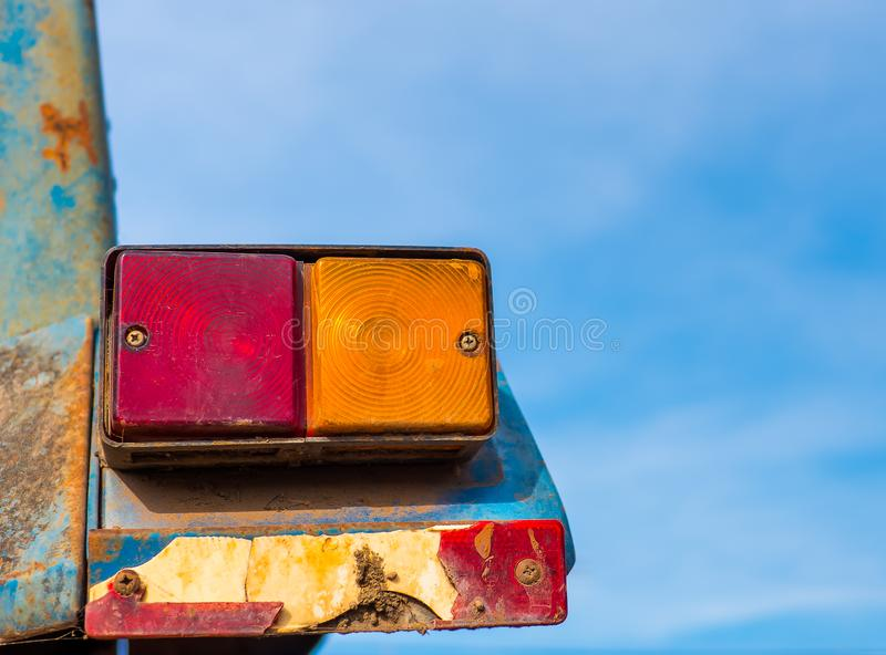 Old Tail lights on truck. turn light signal on car. Old Tail lights on truck. Broken tail lights of the truck for show the turning and break movement of the stock photo