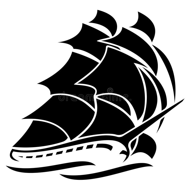 Simple Vector Line Art : Old tall sailing ship vector graphic illustration stock