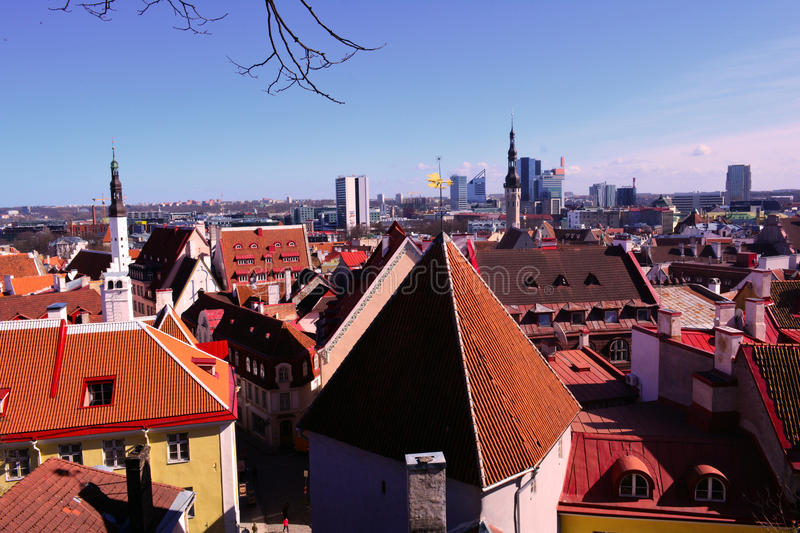 Old Tallinn and its old red roofs and a new city, panoramic view, Estonia royalty free stock images