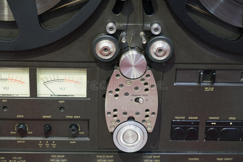 Old tape cassette recorder close up royalty free stock image