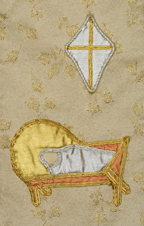 Old tapestry embroidered creche star nativity