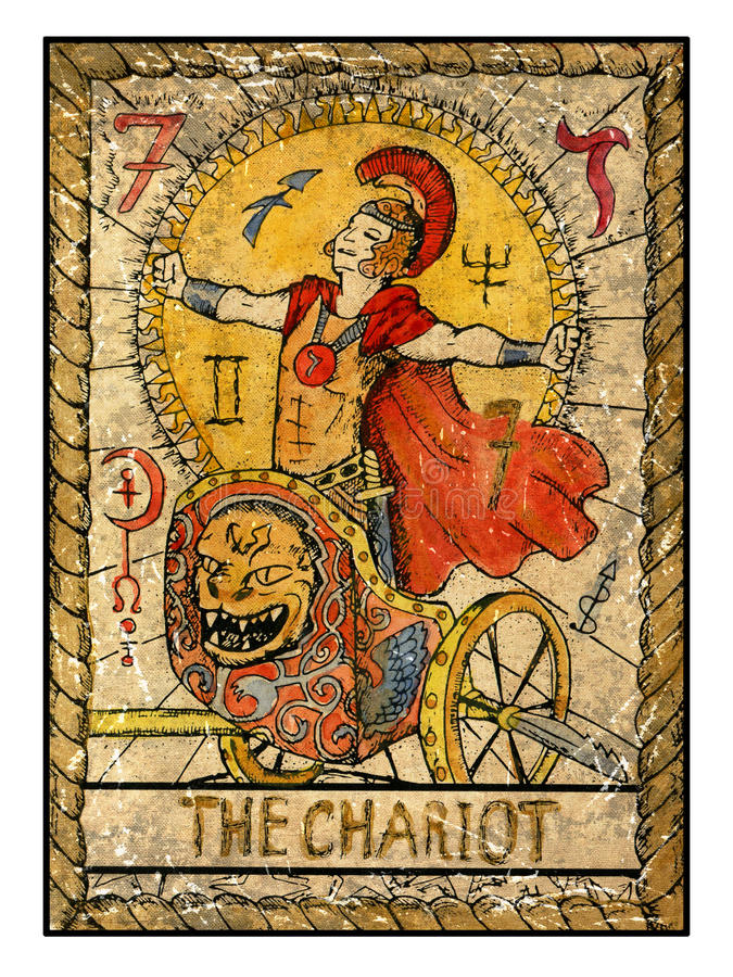 Old Tarot Cards. Full Deck. The Chariot Stock Illustration