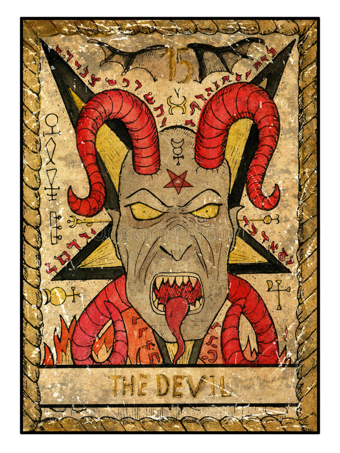 Old Tarot Cards. Full Deck. The Devil Stock Illustration