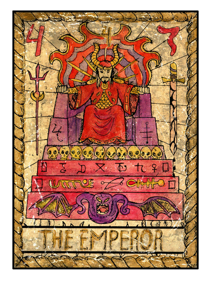 Old Tarot Cards. Full Deck. The Emperor Stock Illustration