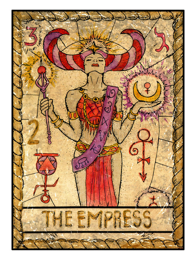 Old tarot cards. Full deck. The Empress stock illustration