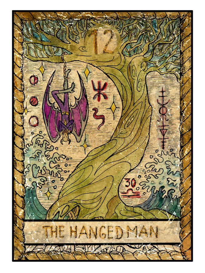 Old Tarot Cards. Full Deck. The Hanged Man Stock