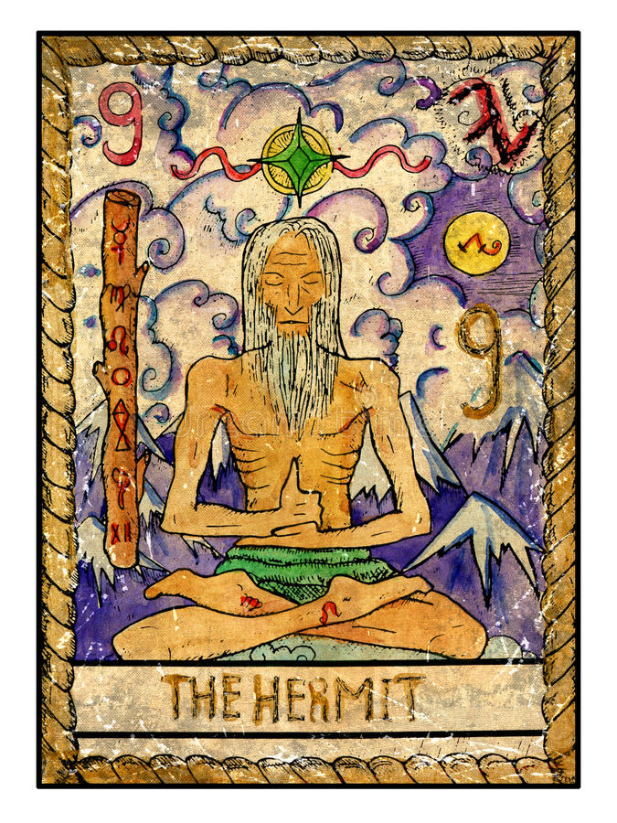 Old Tarot Cards. Full Deck. The Hermit Stock Illustration