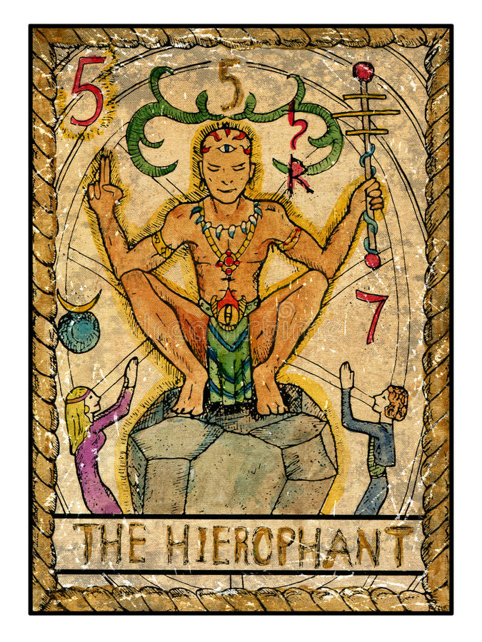 Old Tarot Cards. Full Deck. The Hierophant Stock