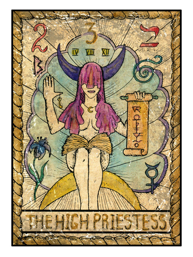 Old Tarot Cards. Full Deck. The High Priestess Stock