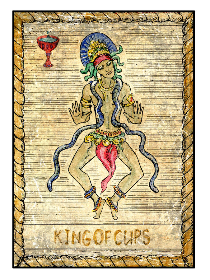 Old tarot cards. Full deck. King of Cups. King of cups. Full colorful deck, minor arcana. The old tarot card, vintage hand drawn engraved illustration with royalty free illustration