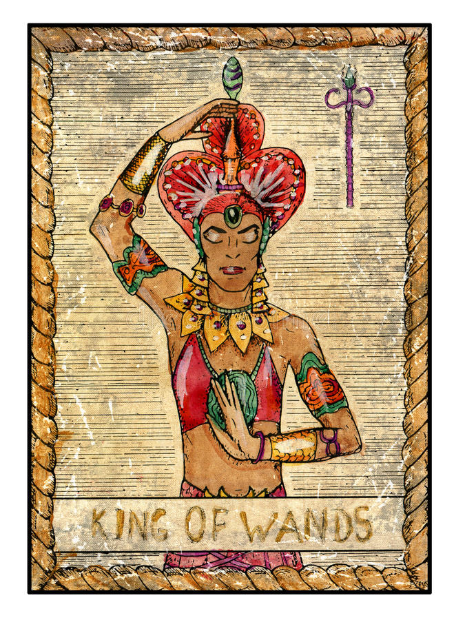 Old tarot cards. Full deck. King of Wands. King of wands. Full colorful deck, minor arcana. The old tarot card, vintage hand drawn engraved illustration with vector illustration