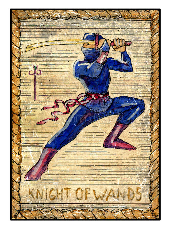 Old Tarot Cards. Full Deck. Knight Of Wands Stock