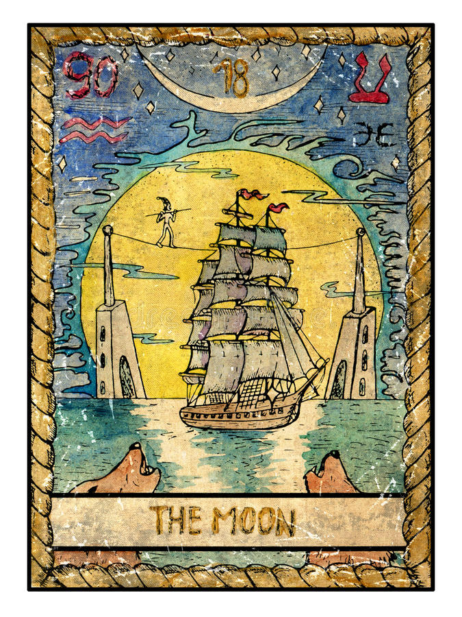 Old Tarot Cards Full Deck The Moon Stock Illustration
