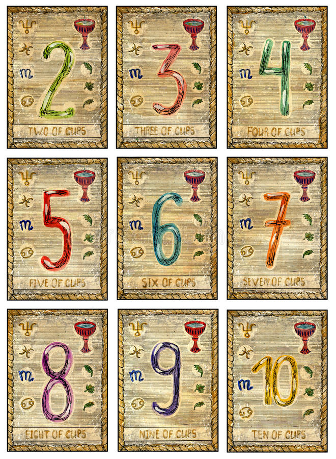 Eight Of Cups  The Magic Gate Tarot Card Stock Illustration