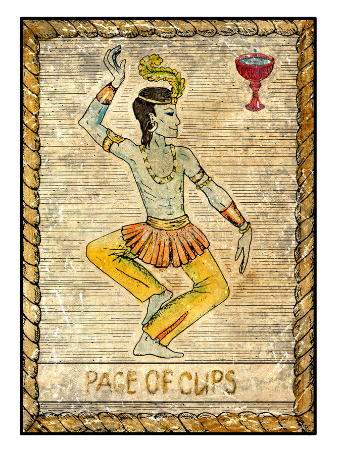 Old Tarot Cards. Full Deck. Page Of Cups Stock