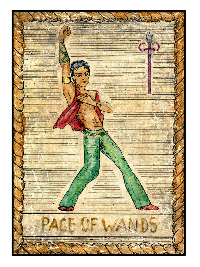 Minor Arcana: Old Tarot Cards. Full Deck. Page Of Wands Stock