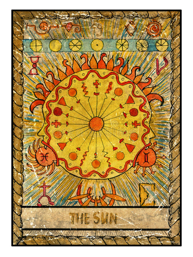 Old tarot cards. Full deck. The Sun royalty free illustration