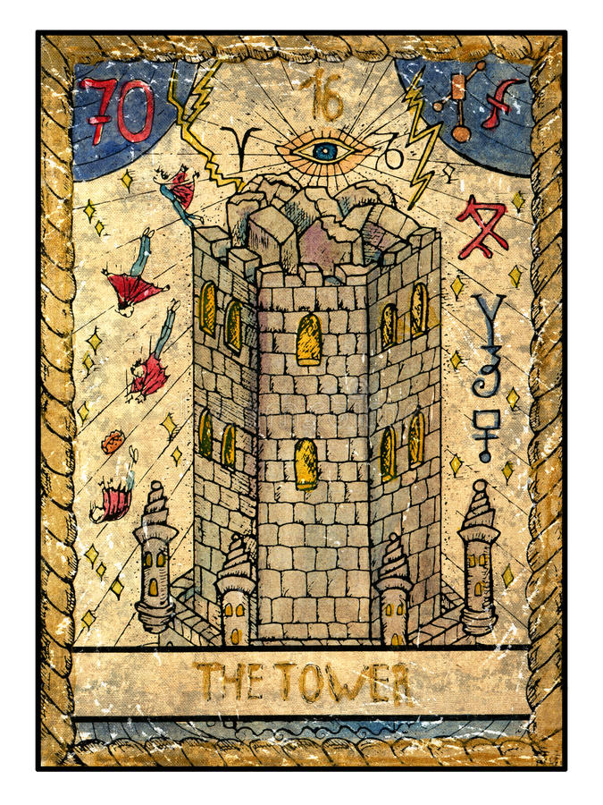 Old Tarot Cards. Full Deck. The Tower Stock Illustration