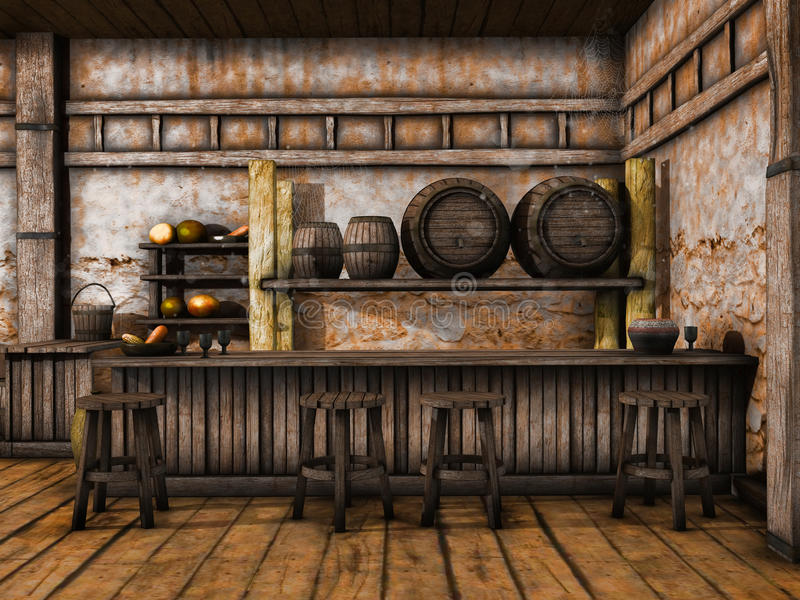 Old tavern counter. With wooden stools and barrels stock illustration