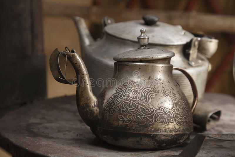 Old Teapot And Kettle In A Kyrgyz Yurt Kitchen Royalty Free Stock Images