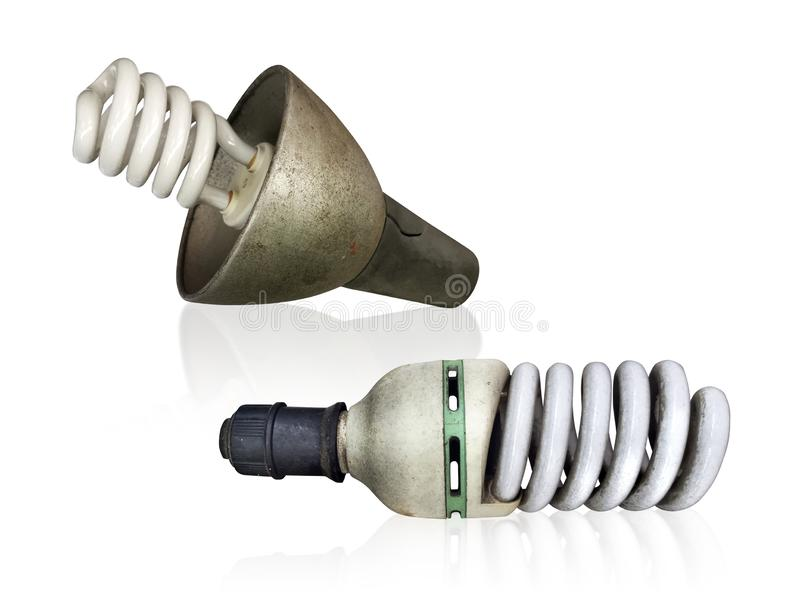 Old technology and wasting electricity, burned out light bulb - no idea concept. For design stock images