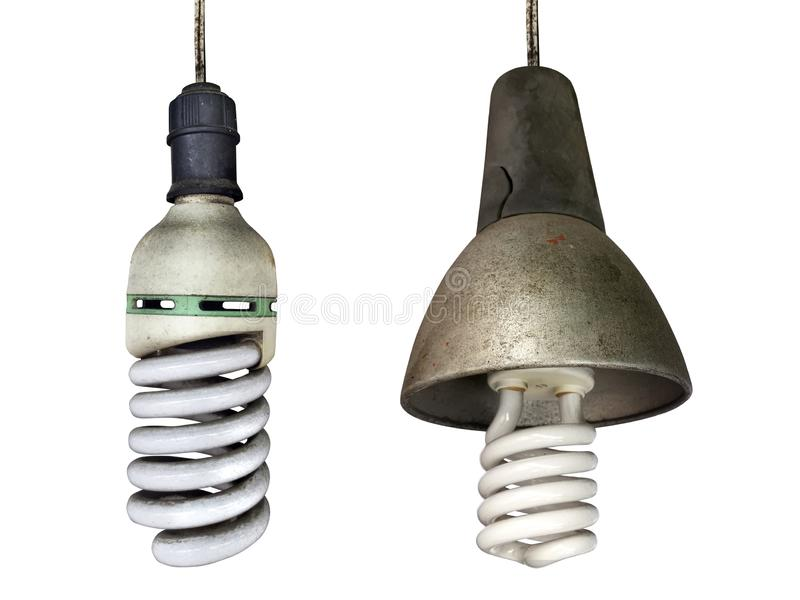 Old technology and wasting electricity, burned out light bulb - no idea concept. For design stock photography