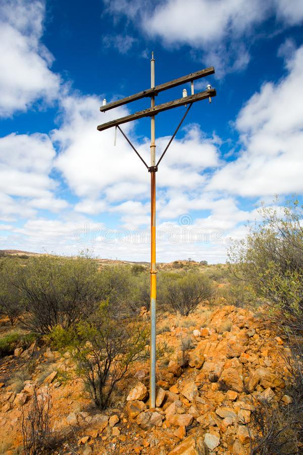 Old Telegraph Pole. A view of the old Telegraph route near the Old Telegraph Station in Alice Springs, Northern Territory, Australia stock images