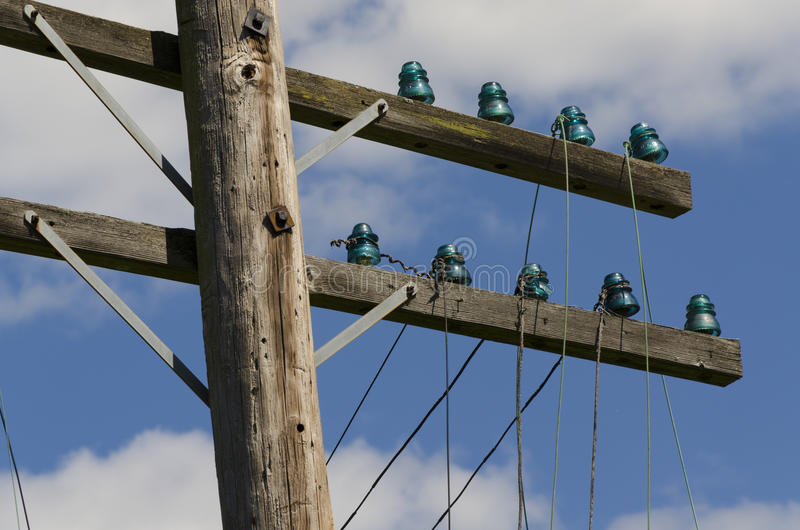 Download Old Telegraph Wires Dangling From Pole Stock Image - Image: 25557327
