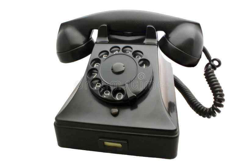 Old Telephone. Antique rotary telephone. Isolated from background stock photos