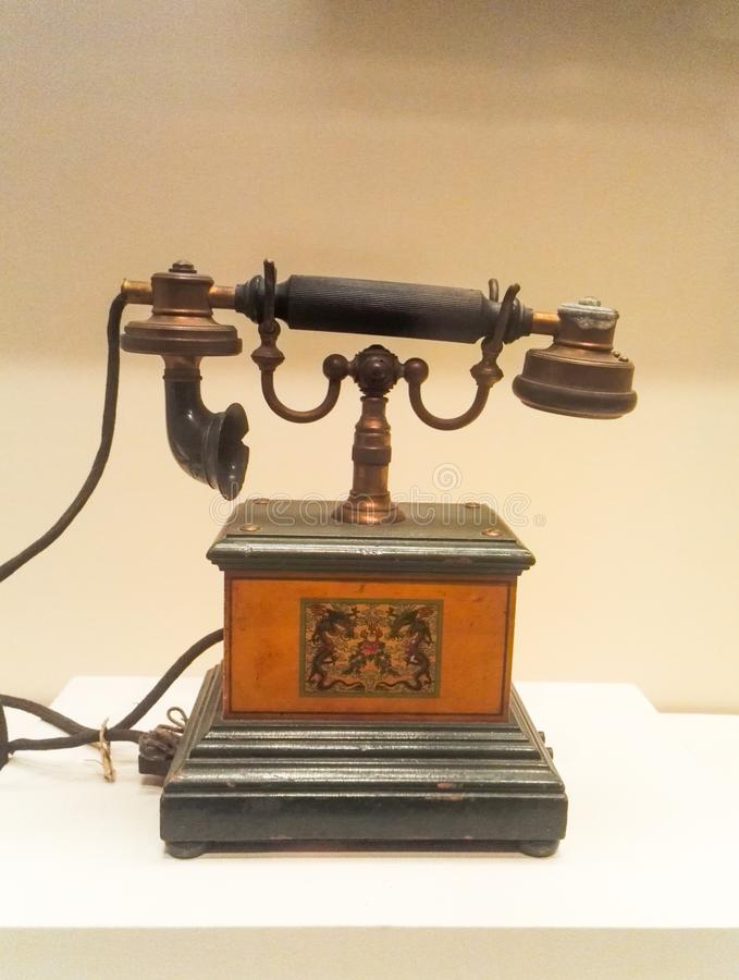 Old Telephone. In the museum royalty free stock photography