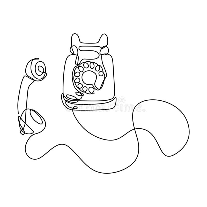 Free Old Telephone One Line Drawing Continuous Design Minimalism Stock Photo - 154200330