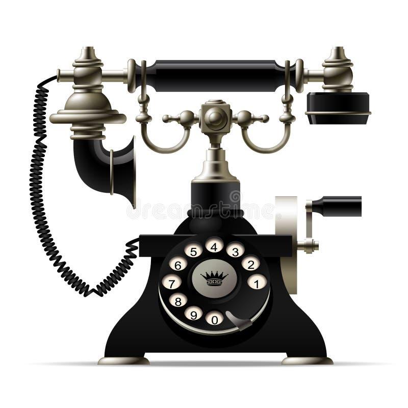Old telephone on white. Retro rotary dial black phone royalty free illustration